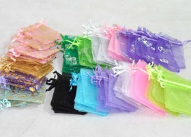 60  Mixed Colors Organza Bags Small  9x7 cm