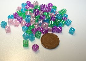 Lot of 100 Tiny Transparent Dice