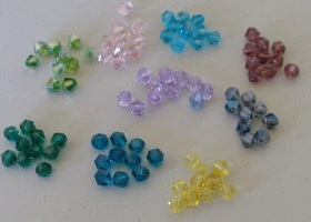 90 Pieces, 4mm Bicone Crystal Beads, assorted colours