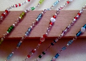 Multi colored 6 pc anklet set