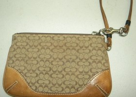 Coach Signature Brown Wristlet