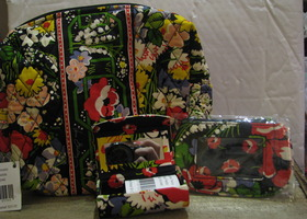 "Brand New Vera Bradley Beauty Lot in ""Poppy Fields"""