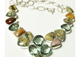 Sterling Silver .925 Green Amethyst & Jasper Necklace