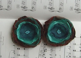 (6pcs) Peacock Flowers - Satin and Organza