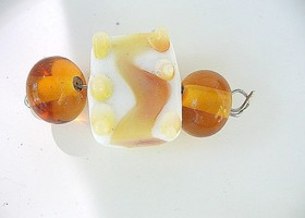 Set Amber & Butterscotch Handmade Italian Glass Lampwork Beads