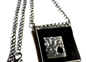 Shades of Black and Gray - Stained Glass necklace