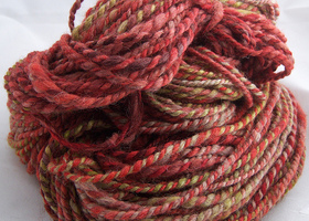 Handpainted, Hand Spun Yarn, Red/Natural/Green