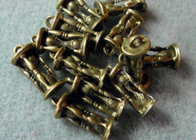 12 Antiqued Bronze Hourglass Charms