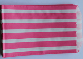 20 Pink and Green Vertical Striped Favor Bags