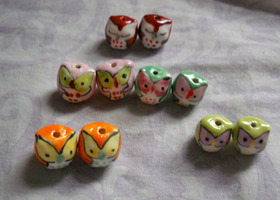10 Hand Painted Ceramic Owl Beads