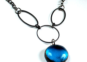 Aqua Stained Glass Necklace - Gunmetal