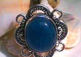 Denim Blue Jade Ring Size 7.25