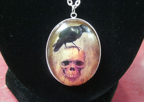Skull and Raven Necklace