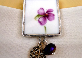 Broken China Jewelry - Vintage China Violet