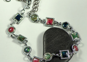 Abalone Shell Anklet, Bright Colors!