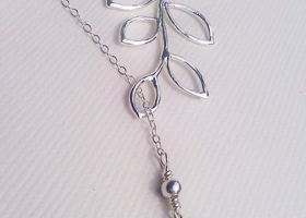 925 silver Aquamarine/Birthstone lariat necklace
