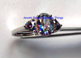 Very Special Mystic Topaz Triplet Ring in Sterling Silv