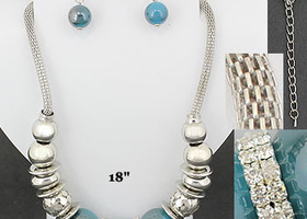 Chunky Silver & Turquoise Ball Beads Mesh Necklace set