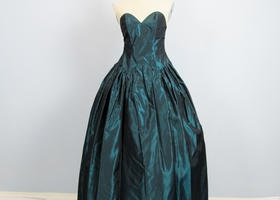 Vintage 1950's Dark Green Ballroom Prom Dress XS