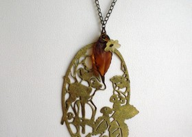 Bambi in the Meadow - Antique Bronze Doe Necklace
