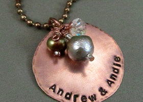 Hand Stamped Personalized Couples Necklace in Copper