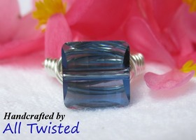 Denim Blue Square Swarovski Ring