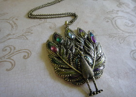 HUGE Rhinestone Peacock Pendant Necklace