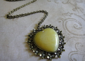 Pale Yellow Heart Pendant in Antique Brass