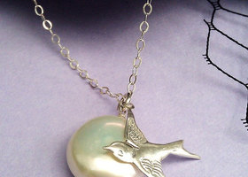 "925 Sterling ""Enchanting Moon"" coin pearl necklace"