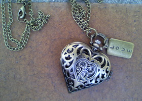 Heart Pocket watch necklace with Love charm