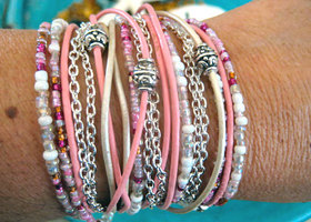 Boho Chic Endless Leather Beaded Wrap Bracelet~