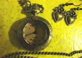 Steampunk Mini Pocket Watch Necklace & Earrings