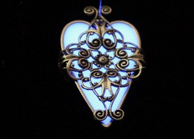 The Orginal Violet Heart Glow in the Dark Necklace