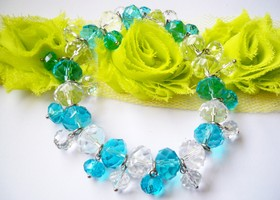 Ocean Blue And Clear AAA Crystal Stretch Bracelet