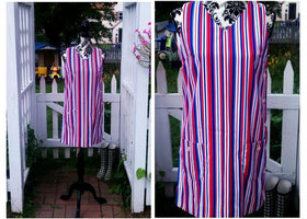 Pin-Striped Mini Dress Handmade  Vintage 60's Small