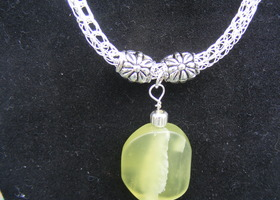 handmade knit necklace w/ stone pendant