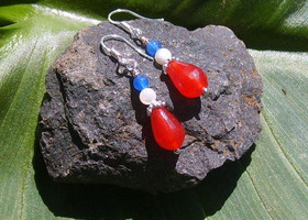 Red Ruby, Blue Sapphire, and White Quartz Sterling Sillver Earrings