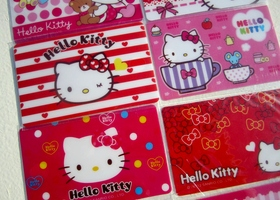 Lot of 10 Random Card Size Hello Kitty Stickers