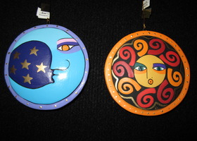 Laurel Burch NWT Sister Sun & Brother Moon Ornaments