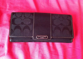 Black Signature Coach Wallet