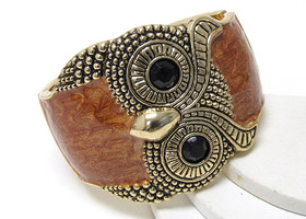 Beautiful Antique Style Owl Bracelet - Brown