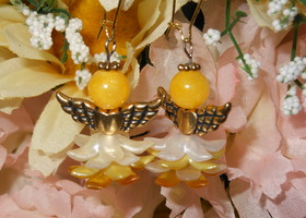 Handmade Golden Angel Earrings