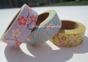 Set of 3 Fun Floral Washi Tape Rolls