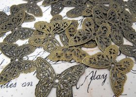 40 Pieces Brass Butterfly Stamping