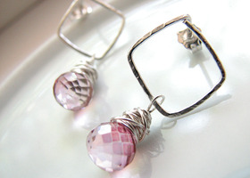 Pink Mystic Quartz and Sterling Silver Earrings