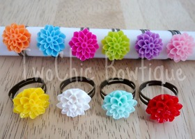 Set of 3 Cabachon Flower Rings - Adjustable - Assorted Colors