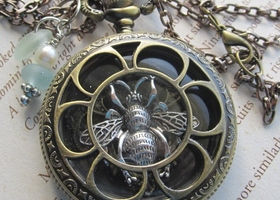 Antiqued Brass Queen Bee Locket