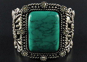 Open Style Silver and Turquoise Colors