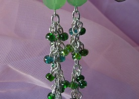 Green Dangle Earrings Handmade w/seed beads