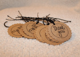 50 Handstamped Round Thank you Tags